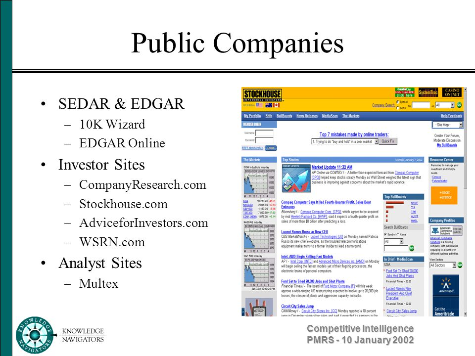 Competitive Intelligence PMRS - 10 January 2002 Private Companies Company website –News releases –News stories –Suppliers/distributors Watchdogs/gripe sites –Unions –Activists –.Sucks Subsidiaries are like private companies