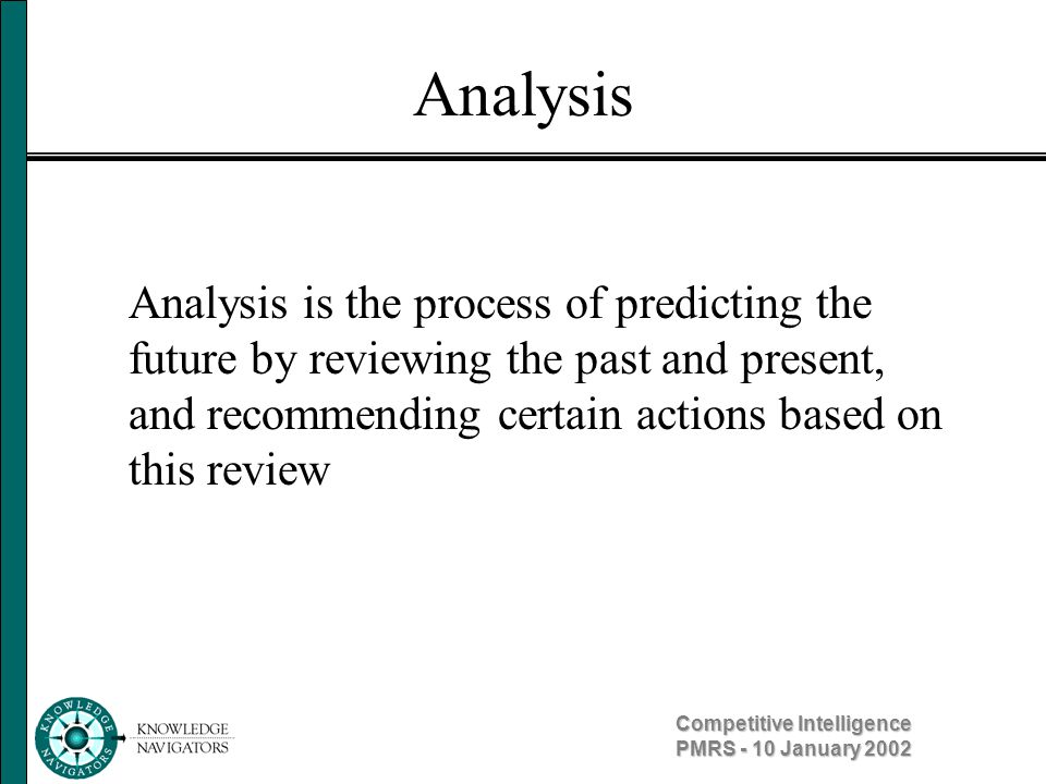 Competitive Intelligence PMRS - 10 January 2002 Analysis Analysis consists of four distinct steps: 1.