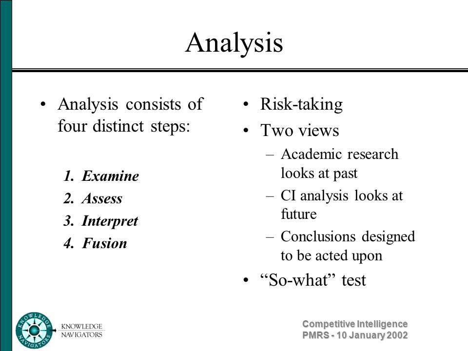 Competitive Intelligence PMRS - 10 January 2002 Analysis Not just bean counting –Context, meaning Not simply regurgitating info –What are implications for decision-making Not one-dimensional –Insights –Conclusions Identify trends Identify mysteries Disciplined thinking Involves reflection Looking for big picture Search for meaning Identifies complex relationships Understand cause and effect