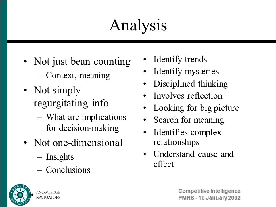 Competitive Intelligence PMRS - 10 January 2002 Management Profiling Determines the impact that decision-makers will have on their company in a given situation Uses personality profiles to assess decision- makers based on the subject s background, current behavior and internal influences