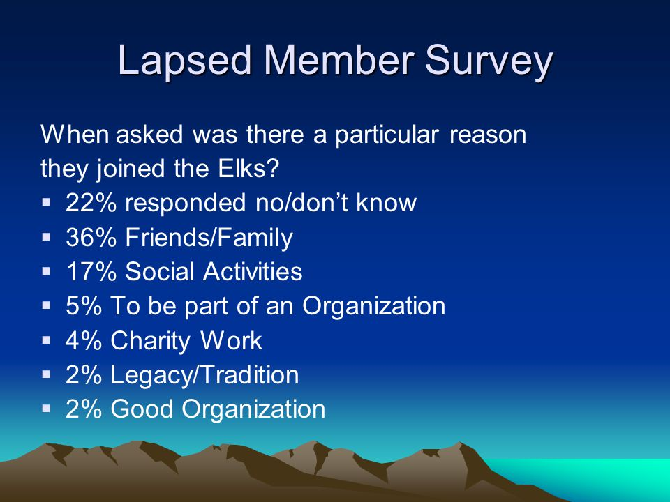 Current Members Join For Giving Purposes When current members were asked about their own experience and share why they Have remained a member.