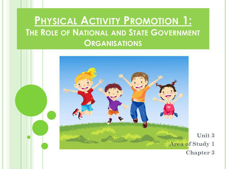 The role of government and non-government organisations in promoting adherence to the National Physical Activity Guidelines in schools, workplace and communities, including VicHealth, National Heart Foundation, State and Federal Government departments A range of individual and population-based Australian physical activity promotion initiatives and strategies.