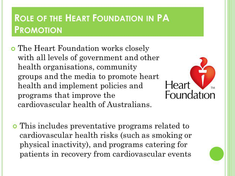 The Heart Foundations mission is to reduce suffering and death from heart, stroke and blood vessel disease in Australia.