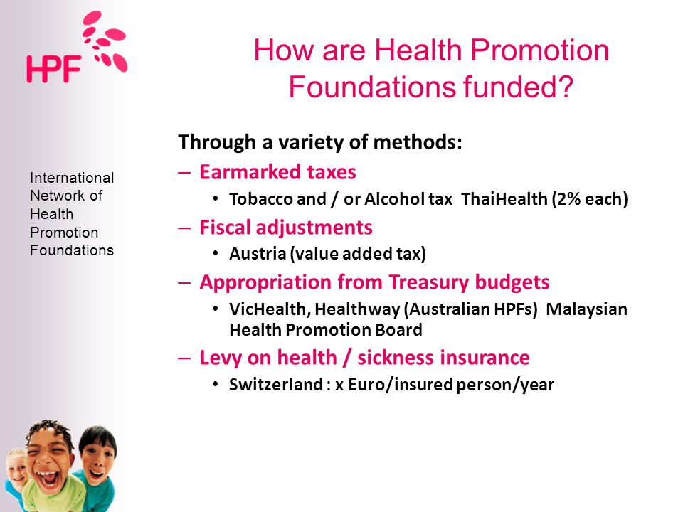 Health promotion financing and organisation in Australia Colin Sindall Senior Adviser Population Health Division Department of Health and Ageing Capacity Building – sustainable financing and infrastructures for Health Promotion