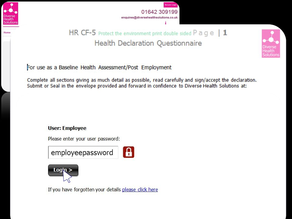 Health & Wellbeing - Area Employee - Documents Employee Upload Welcome to your document area HR CF-13 Audiometry questionnaire HR CF-5 Health declaration questionnaire HR CF-15 Respiratory questionnaire HR CF-21 Night workers health questionnaire Click To Start Document Upload Demo x David Pedley-Burns Operations Director 01-01-2000 DHS123456789 employeepassword