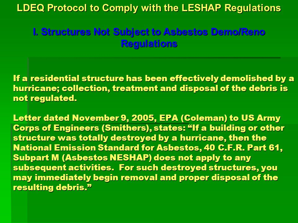 LDEQ Protocol to Comply with the LESHAP Regulations II.