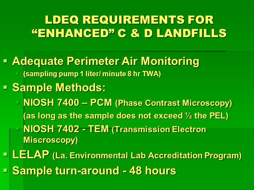 LDEQ REQUIREMENTS FOR ENHANCED C & D LANDFILLS Detection Limits i.The sample method detection limit shall i.The sample method detection limit shall be 0.01 – 0.02 f/cc ii.The OSHA permissible exposure limit ii.The OSHA permissible exposure limit (PEL) for asbestos fibers is 0.1 f/cc Iii.