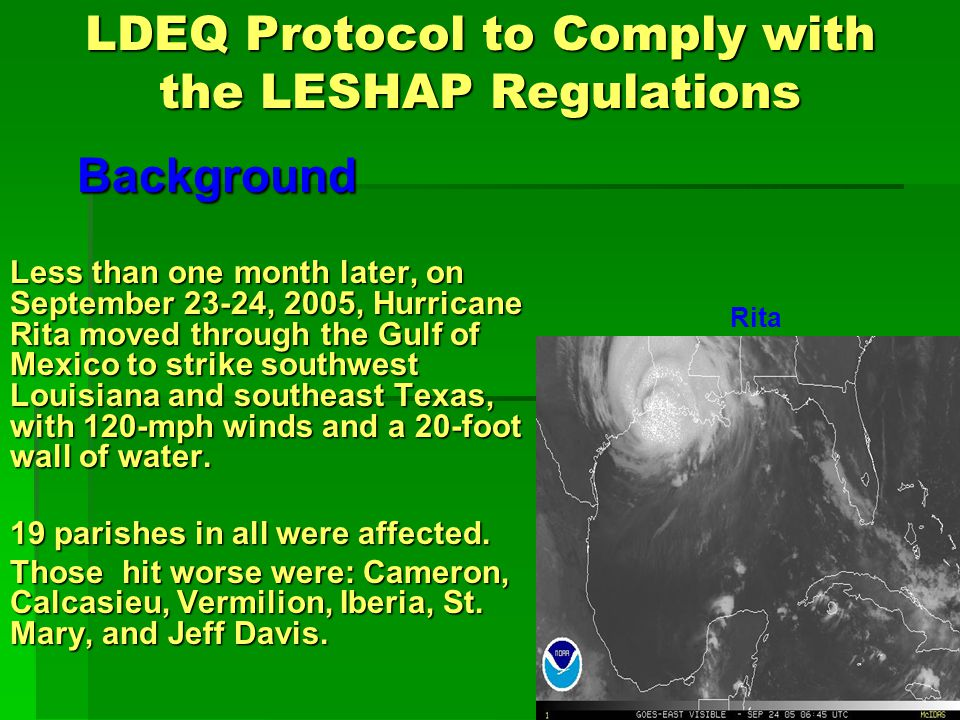 LDEQ Protocol to Comply with the LESHAP Regulations