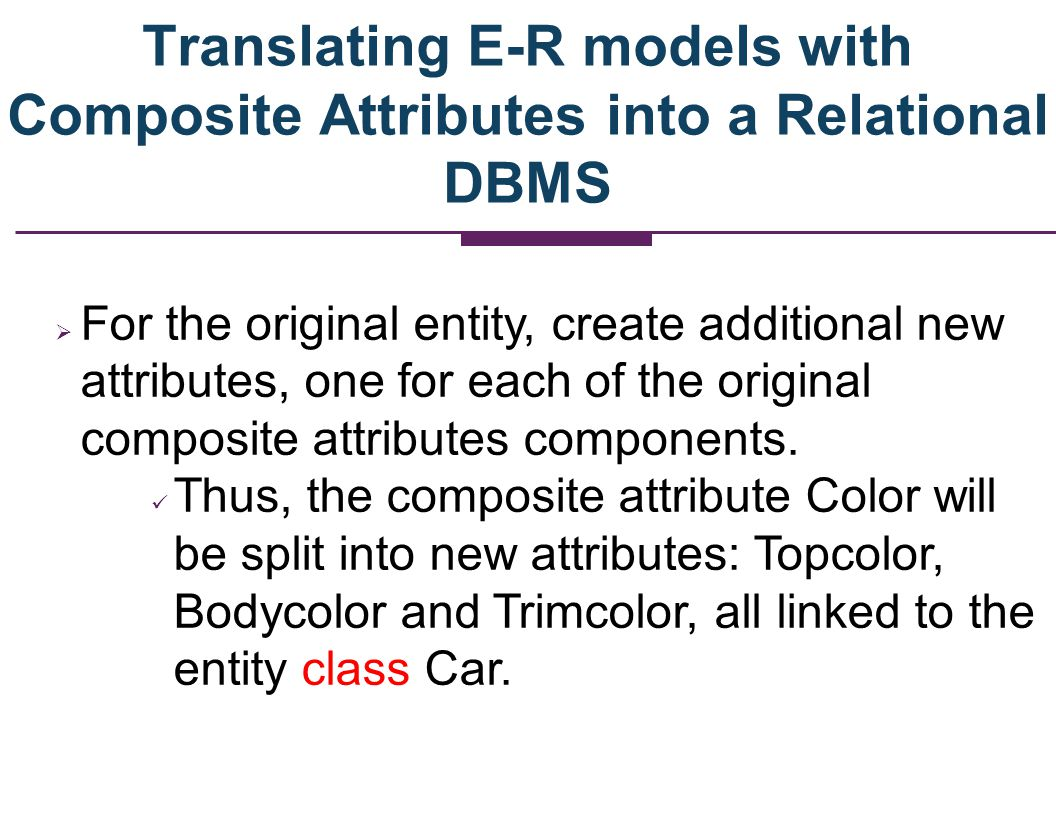CAR Car-id Manuf Model Year Engine Bodycolor Topcolor Trimcolor Splitting the Composite Attribute into New Attributes