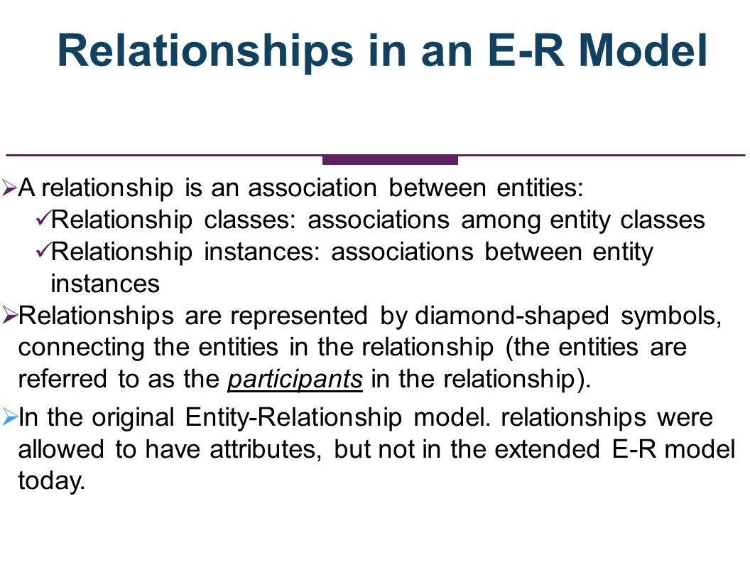 A Relationship Class Between a Professor Entity Set/Class and a Course Entity Set/Class PROFESSOR COURSE TEACHES What would be a relationship instance in this case?