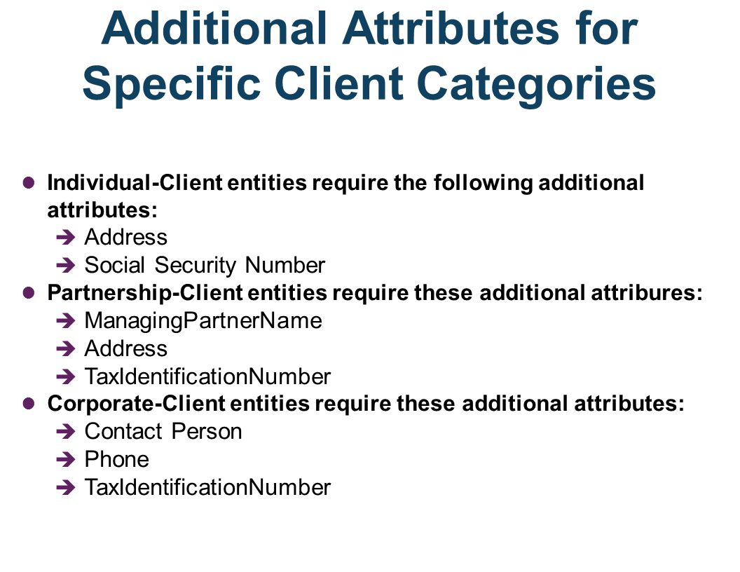 One (not-recommended) Approach for Modeling Client in an E-R Diagram If we allocate ALL attributes to the entity set CLIENT, then instances of CLIENT would leave some attributes blank.