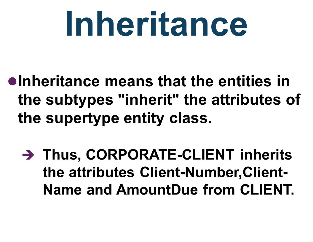 Subtype Entities A subtype entity is a child, having a parent supertype entity from which it inherits attributes: –Example: STUDENTs can be classified as either UNDERGRADUATE or GRADUATE.