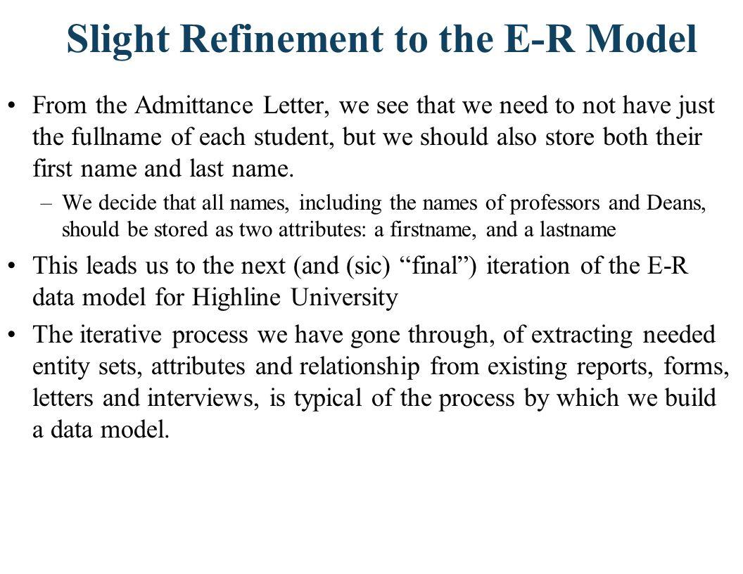 The Resulting E-R Model for Highline University