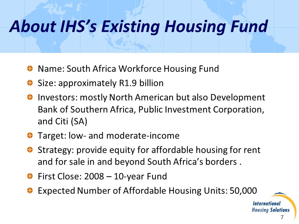 Investments to Date 8 25 deals with 16 developers Investments committed to date will yield approximately 35,000 units Fund expected to be fully invested by end of 2011, given strength of current pipeline 62% took development and construction risk 85% in Gauteng (greater Johannesburg area) 50% purely for-sale; 50% rental to be followed by sectional title sale when advantageous.