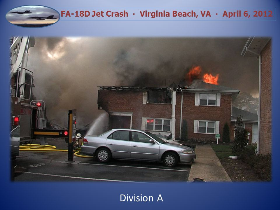 FA-18D Jet Crash Virginia Beach, VA April 6, 2012 Tail Section In Courtyard View from Side B