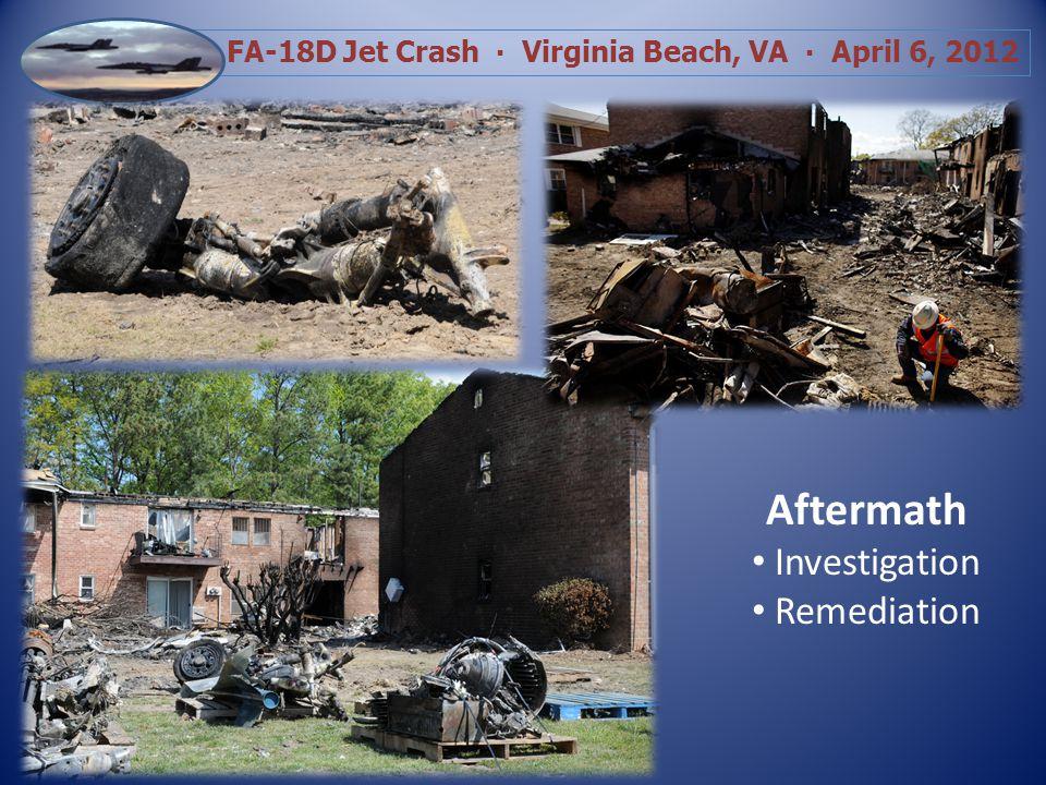 FA-18D Jet Crash Virginia Beach, VA April 6, 2012 Family Assistance 8 Pets Reunited Medications/Wallets/IDs Family Heirlooms Reunited All Families Assigned a FF & Navy Chaplin