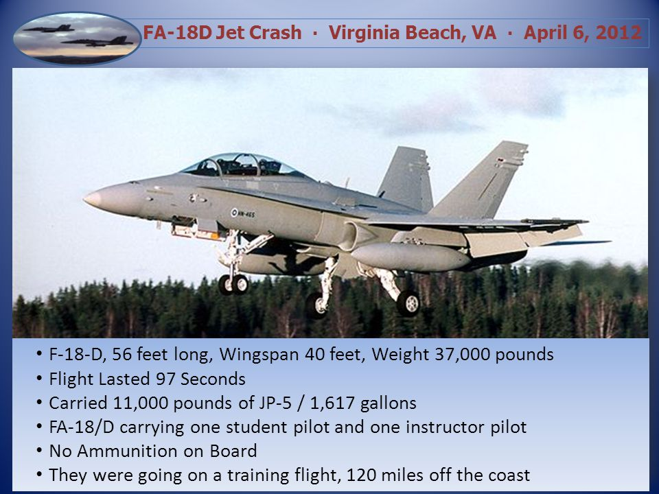 FA-18D Jet Crash Virginia Beach, VA April 6, 2012 Loud explosion…Navy airplane hit apartment building…saw the pilot come out…cannot see injuries at this time Saw parachute in the area and then something exploded in the area of Birdneck Road near Marabou Adult male said he wanted to let us know Birdneck Village is on fire and we might need some fire trucks Complainant said the pilot landed on her patio…he is still out there…is conscious…her neighbors are out there helping him, she was told to evacuate but says hes still on her patio 12:06:32