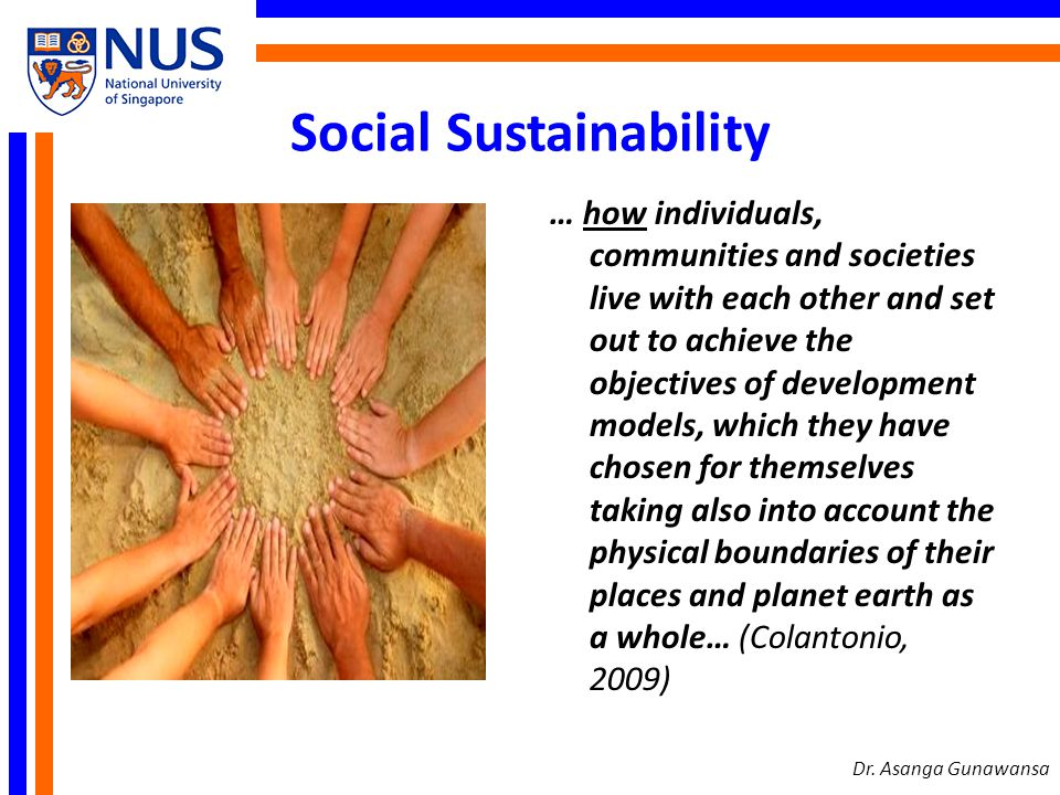 Social Sustainability Indicators Numbers of people with jobs Poverty Opportunities for education and training Health and availability of medical services Human rights and equal opportunities Crime and social disorder levels Housing provisions and quality Dr.