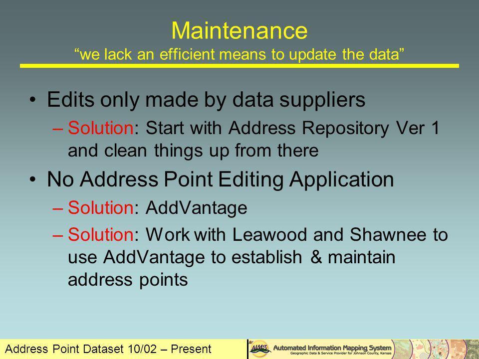 Address Point Dataset 10/02 – Present