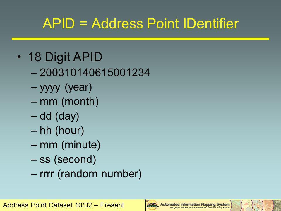 Address Point Dataset 10/02 – Present The Final Outcome The Johnson County Address Dataset - 225738 Address Points