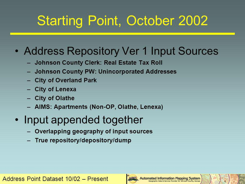 Address Point Dataset 10/02 – Present In the Beginning there were None