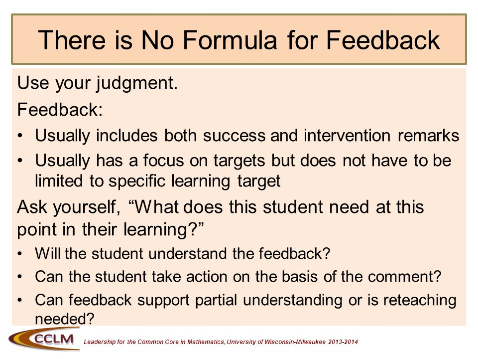 Leadership for the Common Core in Mathematics, University of Wisconsin-Milwaukee 2013-2014 Learning Target We are learning to give descriptive feedback based on the assessment blueprint and the evidence of student learning.