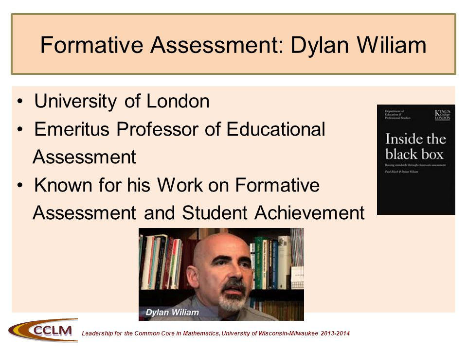 Leadership for the Common Core in Mathematics, University of Wisconsin-Milwaukee 2013-2014 Formative Assessment Take notes on important ideas from Dylan on Formative Assessment.