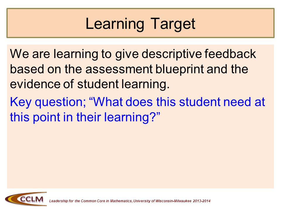 Leadership for the Common Core in Mathematics, University of Wisconsin-Milwaukee 2013-2014 What is Feedback.