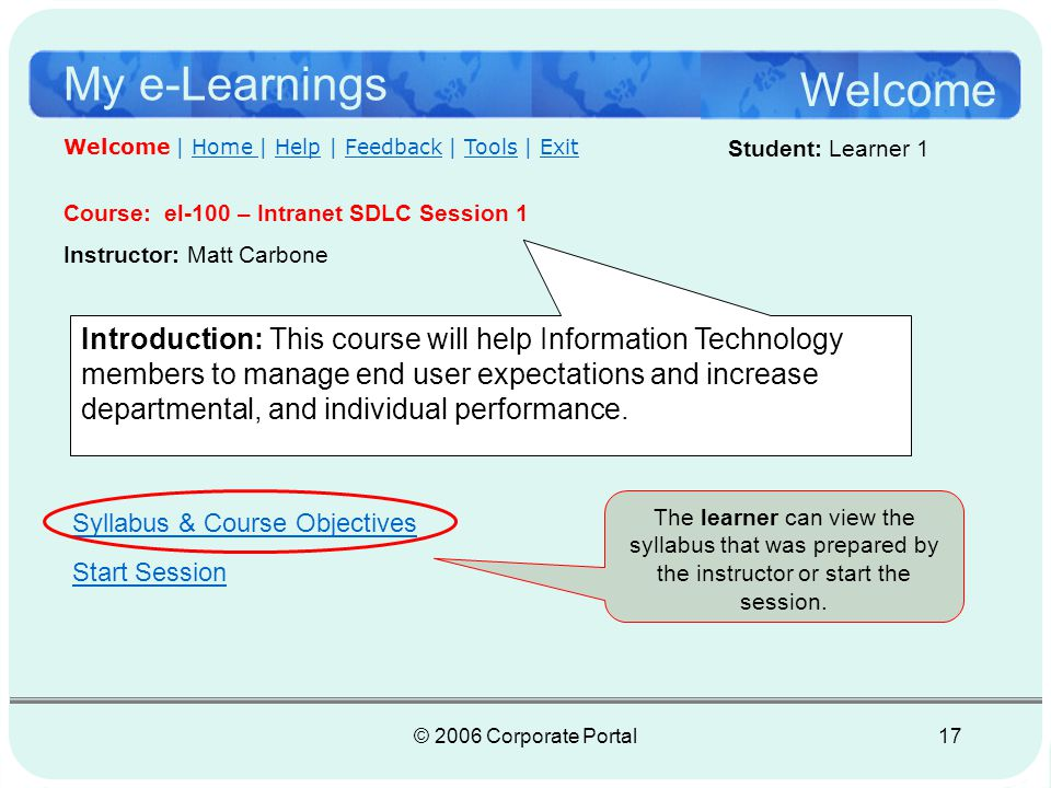 © 2006 Corporate Portal18 My e-Learnings El-100 Session Student: Learner 1 Session 1 | Home | Help | Feedback | Tools | Exit Syllabus & Course Objectives Objectives: After completing this course, students will be able to: Recognize different types of software development life cycles methodologies Recognize various strategies to achieve higher level of performance managing software Gain a general understanding in modifying methodologies for use within your specific area of work Attendance is required for all sessions Page 1 of 7 The buttons at the bottom of the page are for next and previous page viewing*.