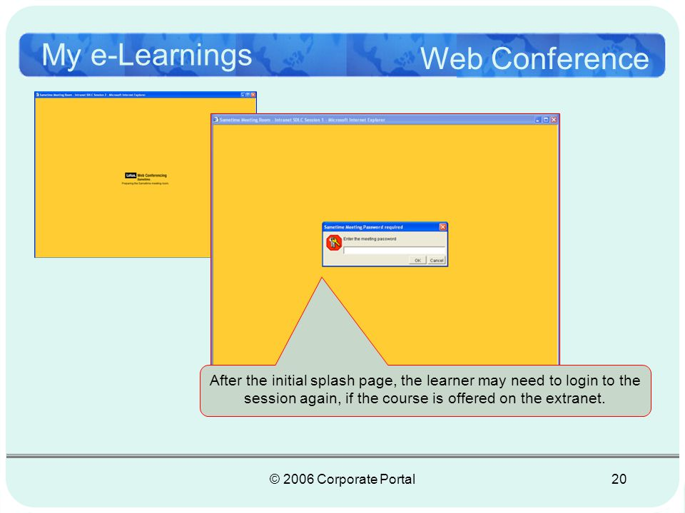 © 2006 Corporate Portal21 My e-Learnings Web Conference In the next few slides, you will view a quick tour of the system.