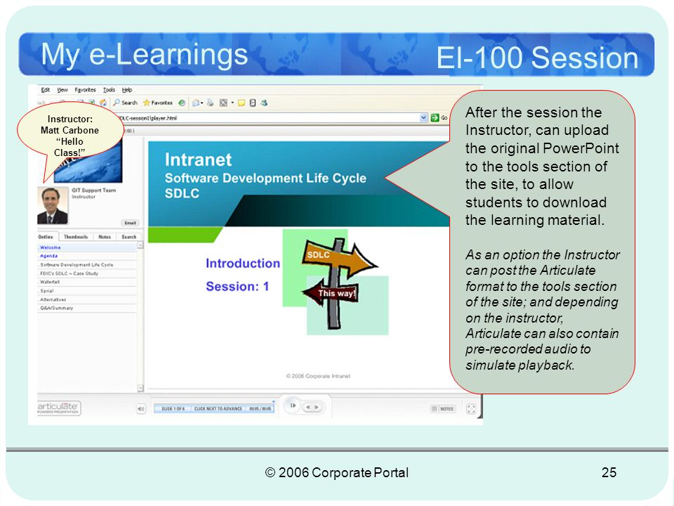 © 2006 Corporate Portal26 My e-Learnings Session 1 Demo http://www.journeysoft.com/IntranetSDLC-session1/player.html Live Demo.