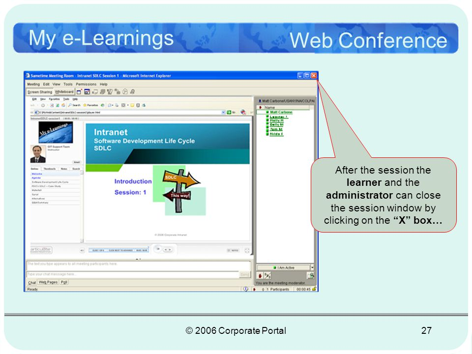 © 2006 Corporate Portal28 My e-Learnings Course Listing Course Listing | Help | Feedback | Add Session | Tools | Exit Edit You are logged in as Matt Carbone closed After the class the instructor (the administrator), officially closes the session.