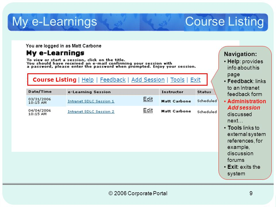 © 2006 Corporate Portal10 You are logged in as Matt Carbone My e-Learnings Course Listing Course Listing | Help | Feedback | Add Session | Tools | Exit 1.Click here to add a new session 2.Click here to edit an existing session You are logged in as Matt Carbone Edit