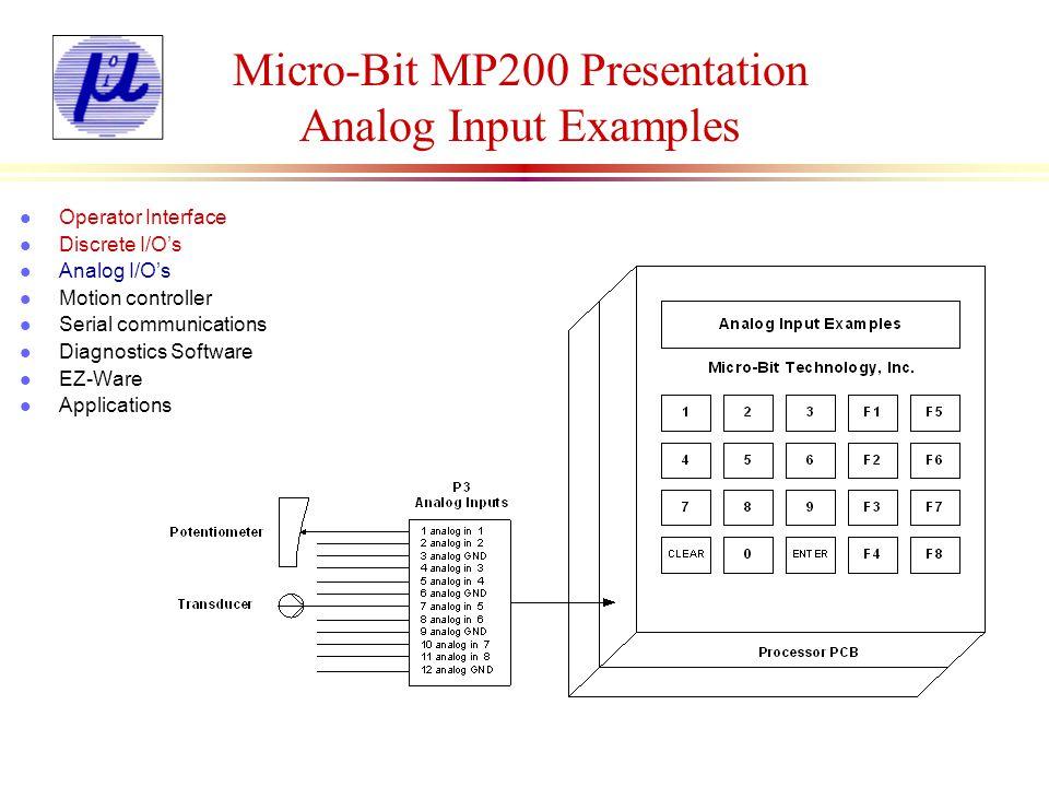 Micro-Bit MP200 Presentation Analog Output Examples l Operator Interface l Discrete I/Os l Analog I/Os l Motion controller l Serial communications l Diagnostics Software l EZ-Ware l Applications Delay