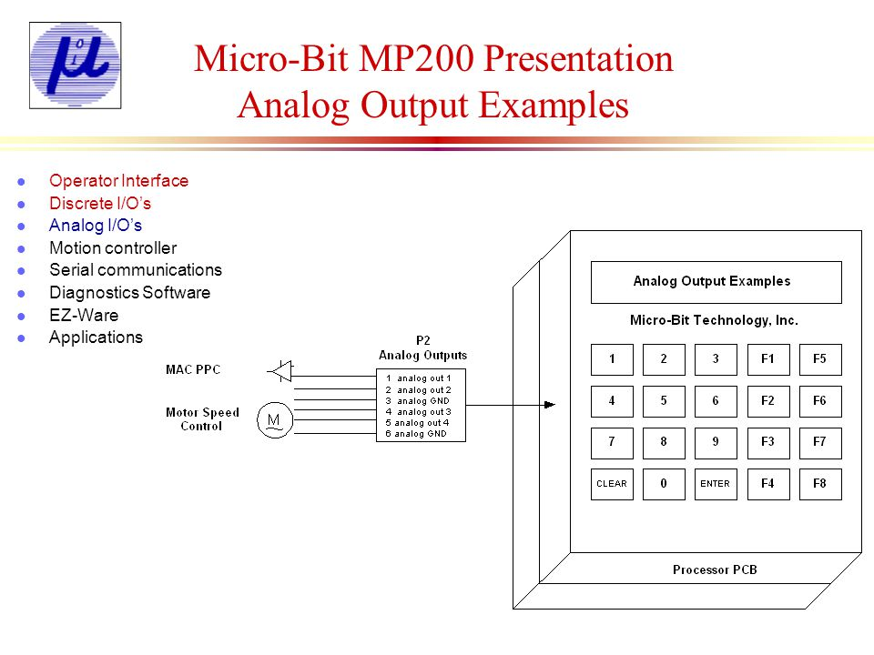 Micro-Bit MP200 Presentation Motion Control Card l Features: n Single axis and dual axis stepper controller card n 16 digital I/Os per axis n 67Khz output pulse rate n Interface with stepper and servo drives n Can be interfaced with the digital I/O board n Additional dual axis boards can be added to controller up to 6 axes Delay l Operator Interface l Discrete I/Os l Analog I/Os l Motion controller l Serial communications l Diagnostics Software l EZ-Ware l Applications
