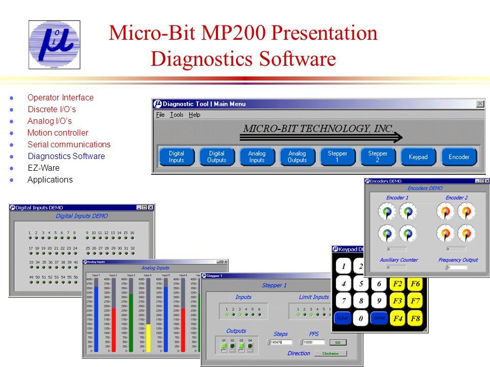 Micro-Bit MP200 Presentation Ez-Ware Software l Operator Interface l Discrete I/Os l Analog I/Os l Motion controller l Serial communications l Diagnostics Software l EZ-Ware l Applications Delay