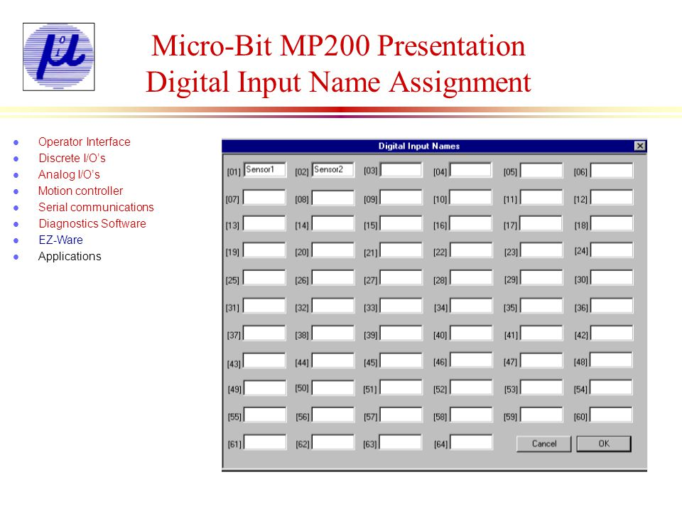 Micro-Bit MP200 Presentation Digital Output Name Assignment l Operator Interface l Discrete I/Os l Analog I/Os l Motion controller l Serial communications l Diagnostics Software l EZ-Ware l Applications Delay