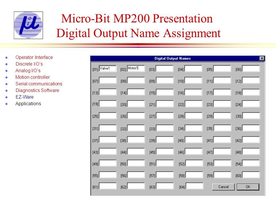 Micro-Bit MP200 Presentation Defining Screens l Operator Interface l Discrete I/Os l Analog I/Os l Motion controller l Serial communications l Diagnostics Software l EZ-Ware l Applications Delay
