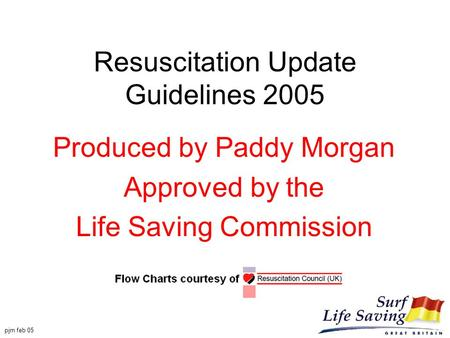 Pjm feb 05 Resuscitation Update Guidelines 2005 Produced by Paddy Morgan Approved by the Life Saving Commission.