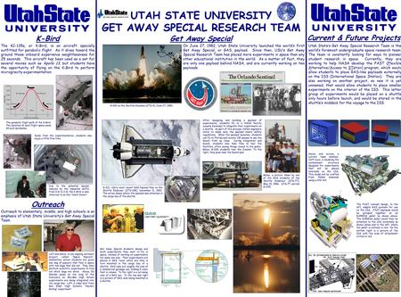 UTAH STATE UNIVERSITY GET AWAY SPECIAL RESEARCH TEAM K-Bird Current & Future Projects Get Away Special Outreach The KC-135a, or K-Bird, is an aircraft.