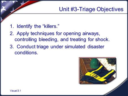 Unit #3-Triage Objectives