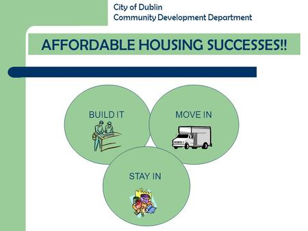 BUILD ITMOVE IN STAY IN AFFORDABLE HOUSING SUCCESSES!! City of Dublin Community Development Department.