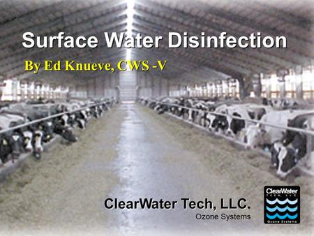 Surface Water Disinfection By Ed Knueve, CWS -V ClearWater Tech, LLC ClearWater Tech, LLC. Ozone Systems.