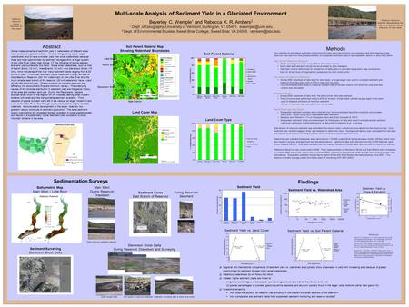 Multi-scale Analysis of Sediment Yield in a Glaciated Environment Beverley C. Wemple 1 and Rebecca K. R. Ambers 2 1 Dept. of Geography, University of Vermont,