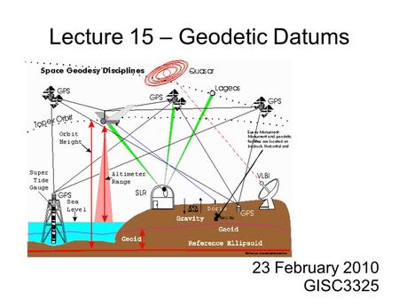 Lecture 15 – Geodetic Datums 23 February 2010 GISC3325.
