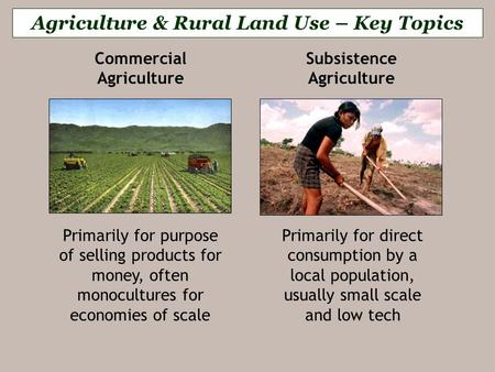 commercial agriculture vs subsistence agriculture