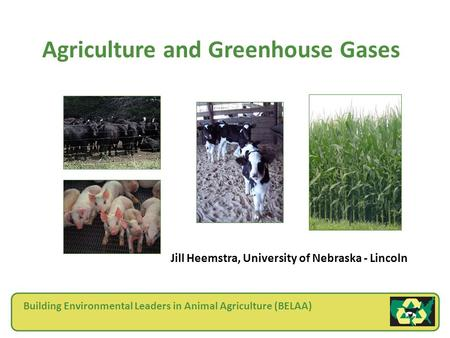 Agriculture and Greenhouse Gases Jill Heemstra, University of Nebraska - Lincoln Building Environmental Leaders in Animal Agriculture (BELAA)