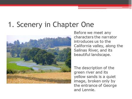 1. Scenery in Chapter One Before we meet any characters the narrator introduces us to the California valley, along the Salinas River, and its beautiful.