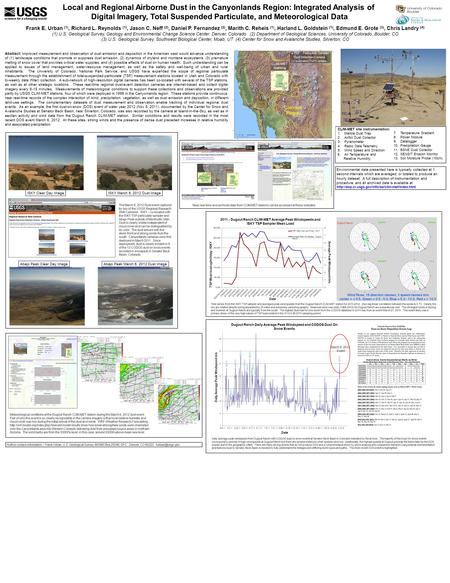 Local and Regional Airborne Dust in the Canyonlands Region: Integrated Analysis of Digital Imagery, Total Suspended Particulate, and Meteorological Data.
