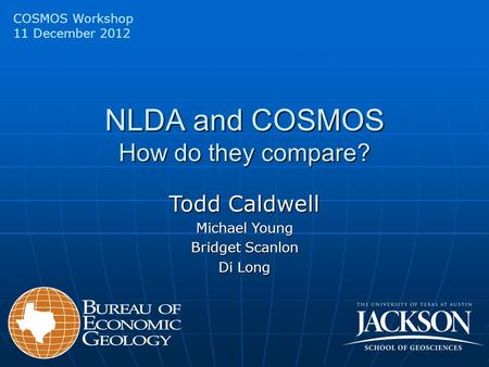 NLDA and COSMOS How do they compare? COSMOS Workshop 11 December 2012 Todd Caldwell Michael Young Bridget Scanlon Di Long.